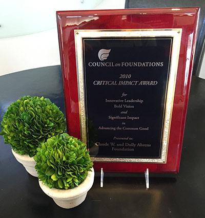 critical impact award plaque