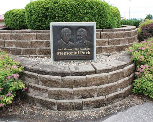 Ahrens/paschall memorial park plaque
