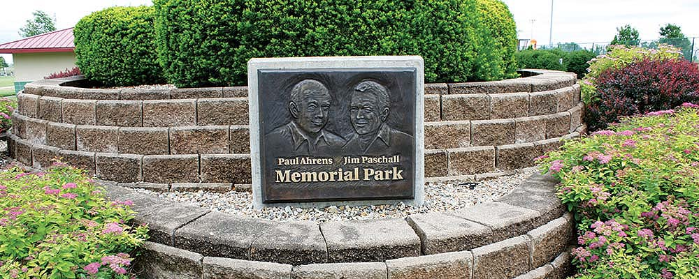 slide image of ahrens/paschall memorial park plaque.