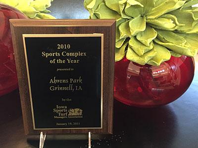 iowa sports complex award plaque
