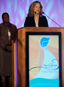 Image of Julie Gosselink speaking at conference