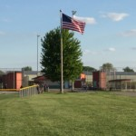 softball press boxes and flag