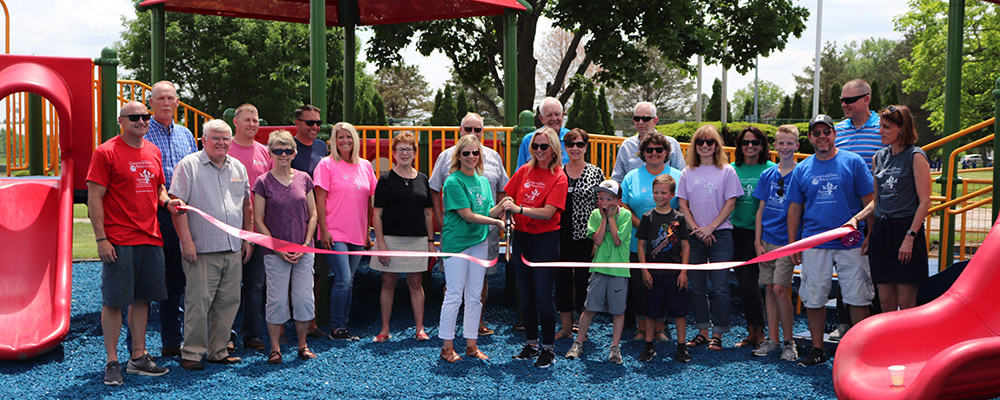 New playground ribbon cutting