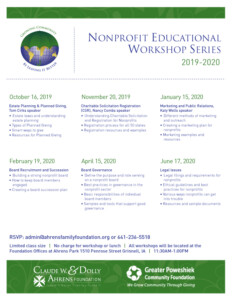 Nonprofit Educational Workshop Series Schedule for 2019-2020