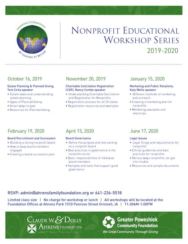 Nonprofit Educational Workshop Series Schedule for 2019-2020