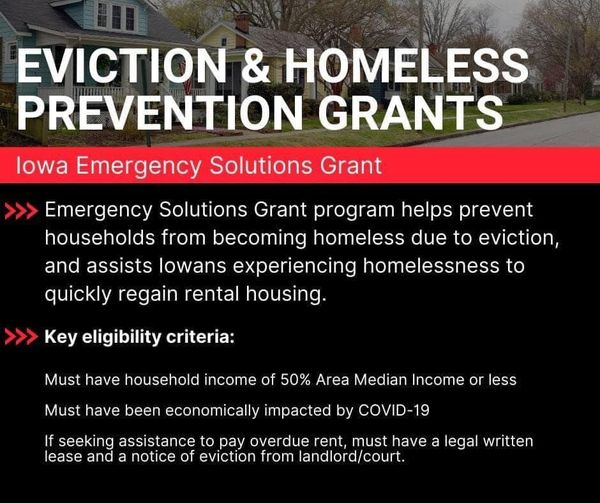 New assistance is available to help prevent Iowans from becoming homeless due to...